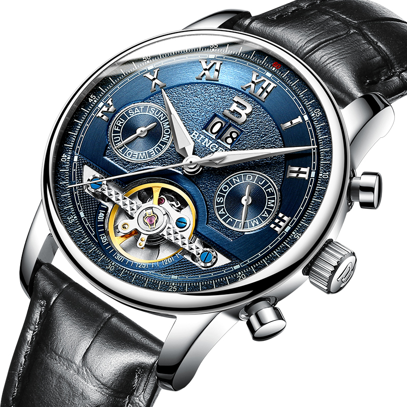 Suisse BINGER montres hommes marque de luxe Tourbillon fonctions multiples résistant à l'eau mécanique hommes montres bracelets B 8603M 6-in Montres mécaniques from Montres    1