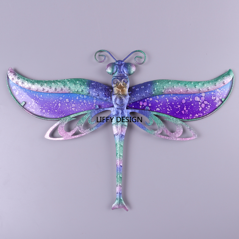 Image 3 - Liffy Dragonfly Wall Decor With Metal and Glass Painting for Garden Decoration Outdoor Animals Decorative to Garden Statues-in Garden Statues & Sculptures from Home & Garden