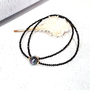 Image 2 - LiiJi Unique Choker Necklace Real Black Spinel Faceted Beads Tahitian Black Shell Pearl 925 Sterling Silver Gold Color Gift