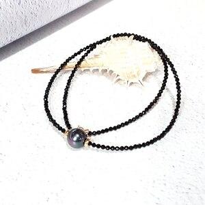 Image 2 - LiiJi ייחודי קולר שרשרת אמיתי שחור ספינל פיאות חרוזים מטהיטי שחור מעטפת פרל 925 כסף זהב צבע מתנה