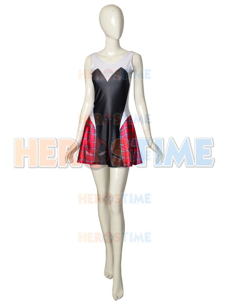 Spandex Printed Gwen Stacy Spider-man Cosplay Dress Halloween Party Dress