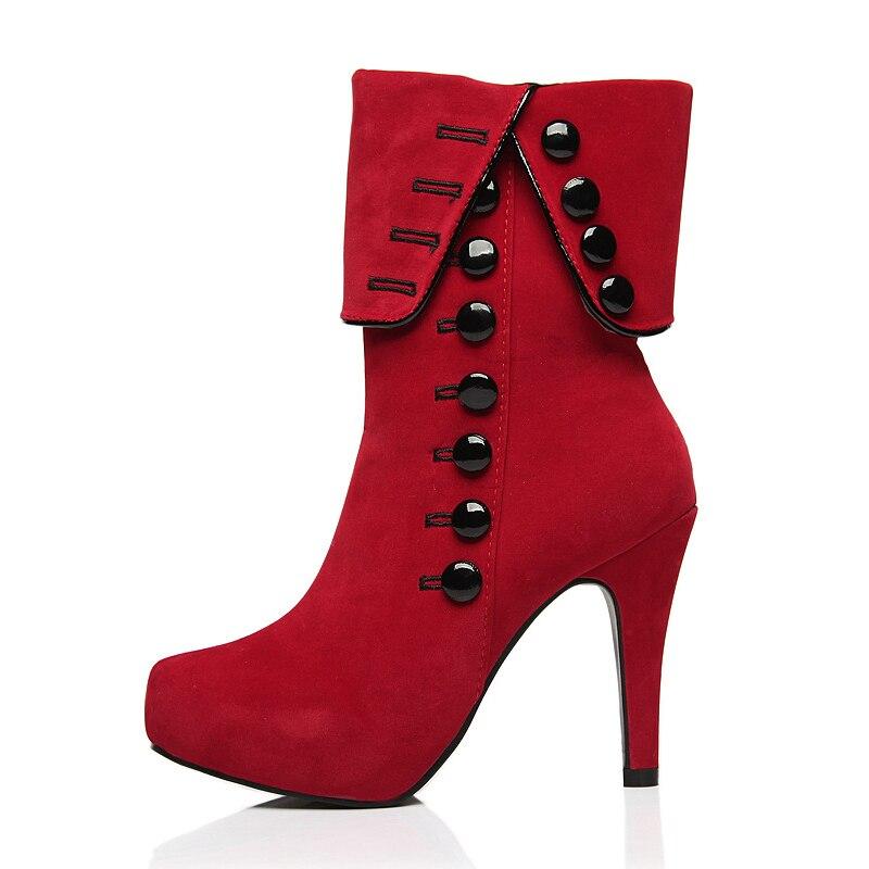 Mode Dames En Femmes Eiswelt Automne Casual De Neige rouge Hiver Chaussures Talons Peluche Bottes Noir Hauts Cheville Solide dBx0p