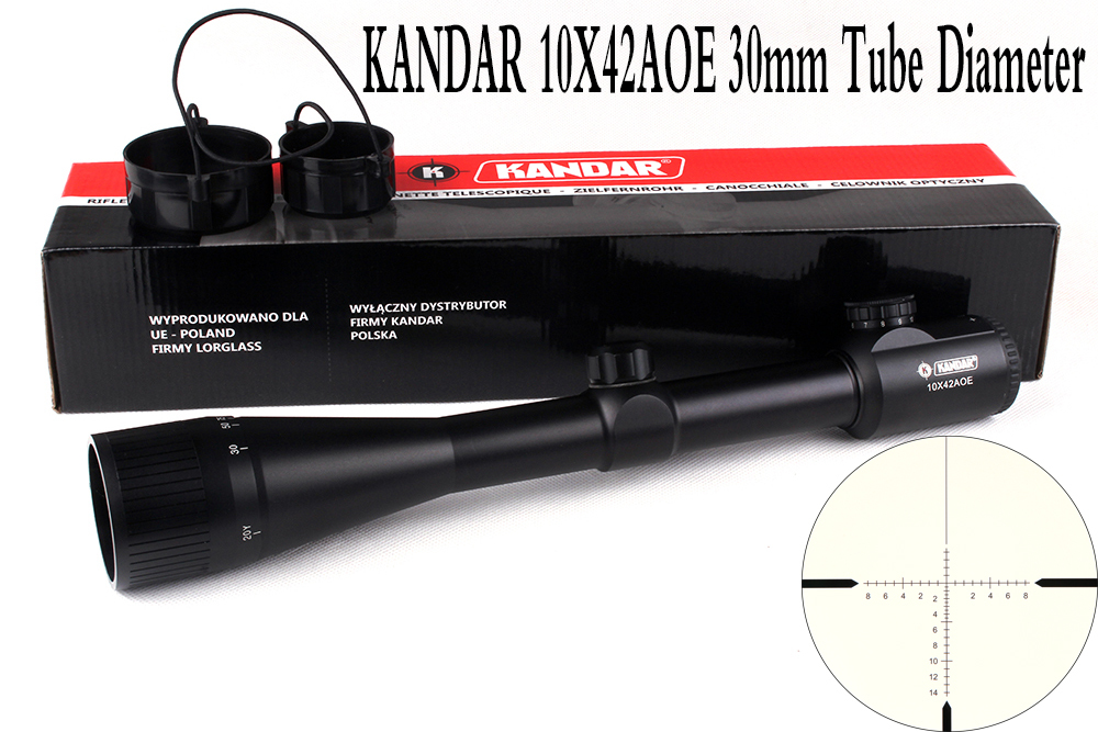 Tactical Optical Sight KANDAR 10x42 AOE Glass Reticle Red Illuminate RifleScope Fixed Magnification 10x Hunting Rifle