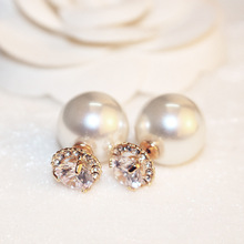 RE anti-allergy CZ gem double sides big pearl earrings white/champagne ball stud earrings women party bead ear stud jewelry S30 цена в Москве и Питере