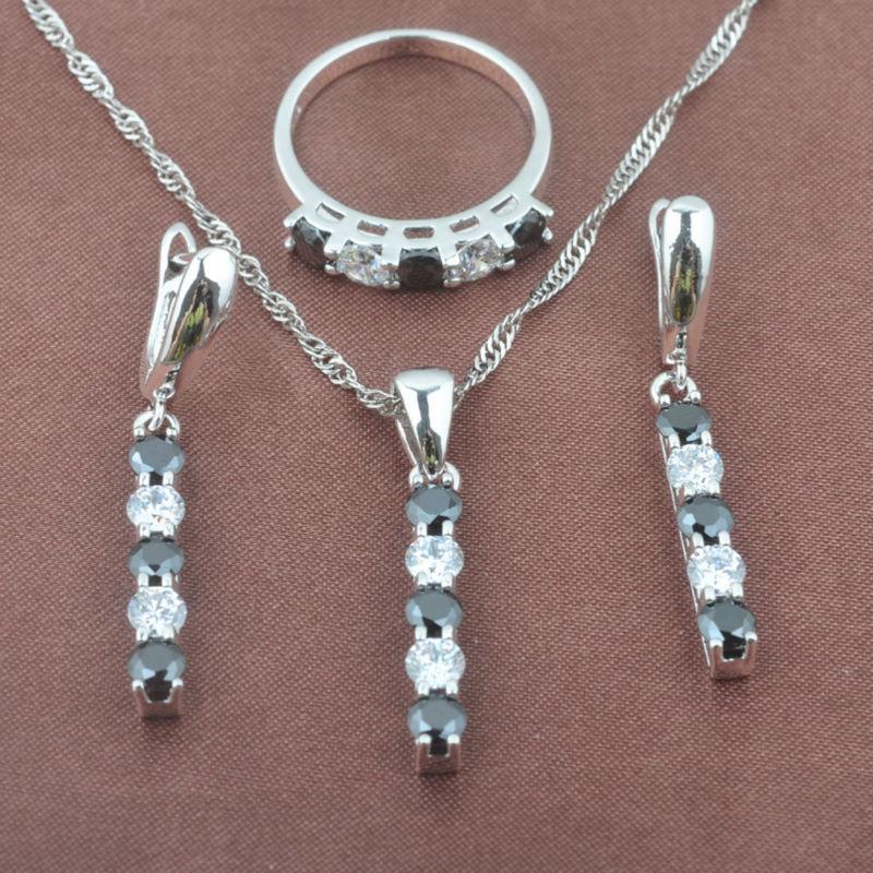 SchöN Klassische New Black & White Zirkon Frauen 925 Sterling Silber Schmuck Sets Halskette Anhänger Ohrringe Ring Tz0409 Hochzeits- & Verlobungs-schmuck