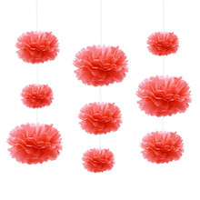 9pcs 15cm/20cm/25cm Red Coral Colors Mixed Size Tissue Paper Pom Poms Wedding Birthday Party Event Decoration Hanging Flowers