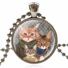 Statement Necklace Glass Cabochon Antique Silver Necklace Dome Jewelry New Cat Pattern Pendant Necklace For Women BCH334