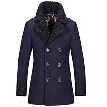 Free shipping New Men's Military Double Breasted Winter Wool blends long Trench Coat Jacket 136hfx(China)