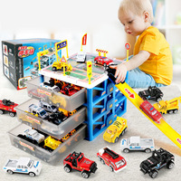 2019 Newest Kids Car Toys Mini Parking Lot 6 Pcs Cars Storage Box DIY Road Signs Car Slot Model Toys For Christmas Gift
