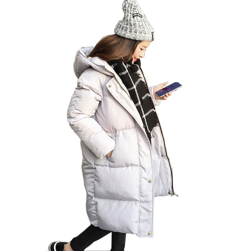 Thick 2017 Winter Jacket Coat Women Down Parka Coat Female Long Warm Hooded Coat Snow Wear Wadded Padded Lady Jacket fashionable thick hooded pleated down coat for women