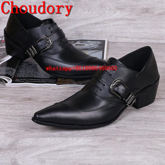 Choudory Choudory Mens Wedding Shoes Pointed Toe Dress Shoes Black Genuine Leather Men Loafers Belt High Heels Formal Oxford choudory new winter men ankle italian shoes men leather shoes pointed toe mens black dress shoes sequined toe spiked loafers men