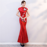Red Sequined Fishtail Long Cheongsam Dress Women Modern Qipao Chinois Robe Orientale Traditional Chinese Gown Vintage Wedding