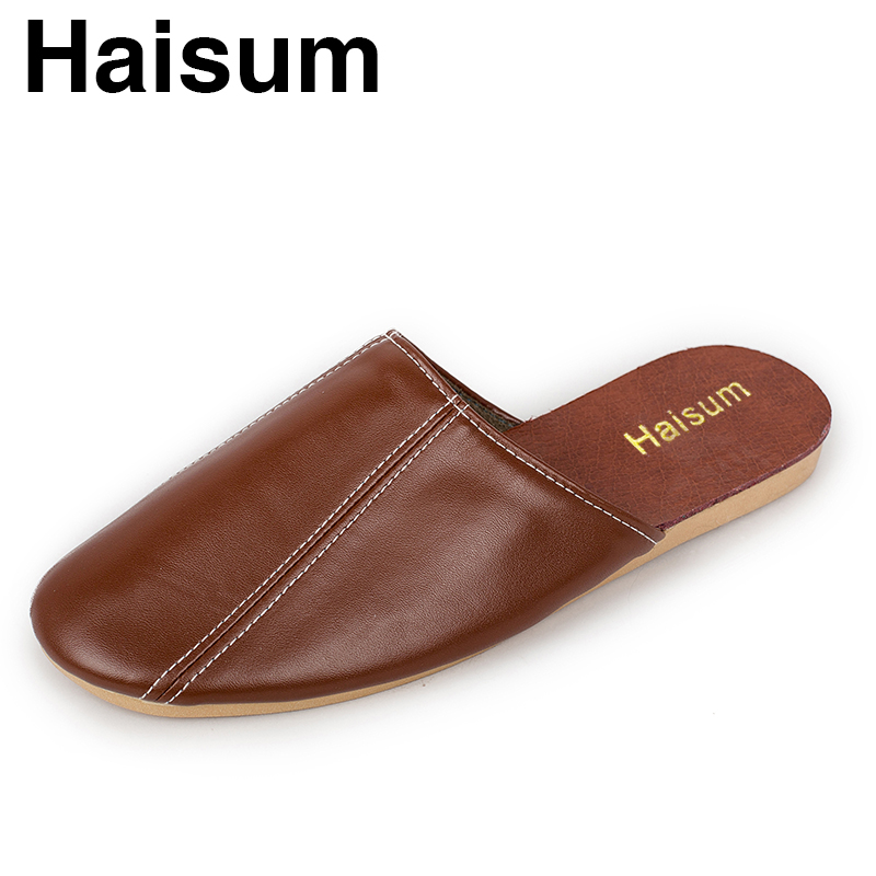 Men's Slippers Spring And Summer Genuine Leather Home Indoor Slip Non-slip Slippers 2018 New Hot S5