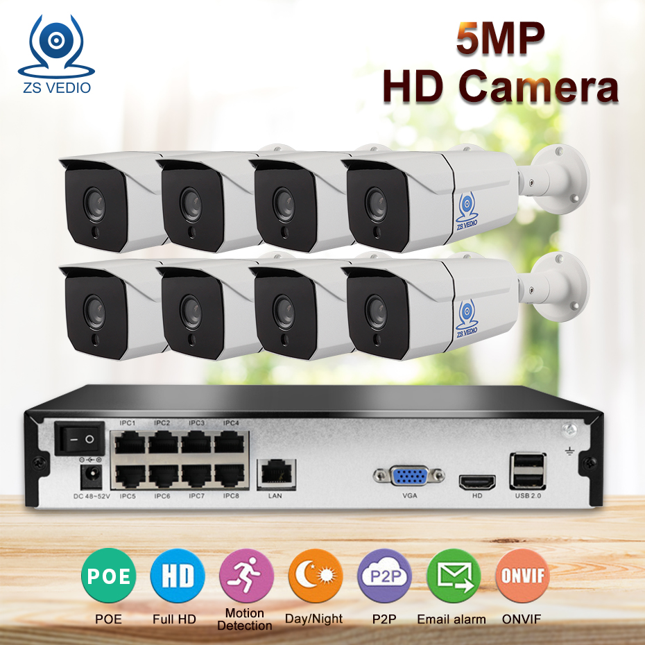 ZSVEDIO Wire CCTV System 5MP 1TB/ 2TB HDD 5MP 8CH NVR IP IR-CUT Outdoor CCTV Camera IP Security System Video Surveillance KitZSVEDIO Wire CCTV System 5MP 1TB/ 2TB HDD 5MP 8CH NVR IP IR-CUT Outdoor CCTV Camera IP Security System Video Surveillance Kit