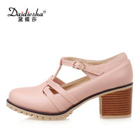 Daidiesha Latest High Heel Shoes Women Candy 4 Colors Sweet Band T Strap Pumps Women Shoes