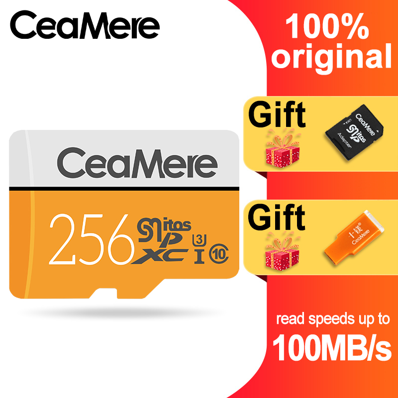 CeaMere Micro SD Card 256GB/128GB/64GB UHS-3 32GB/16GB/8GB Class 10 UHS-1 4GB Memory Card Flash Memory Microsd Free Crad Reader