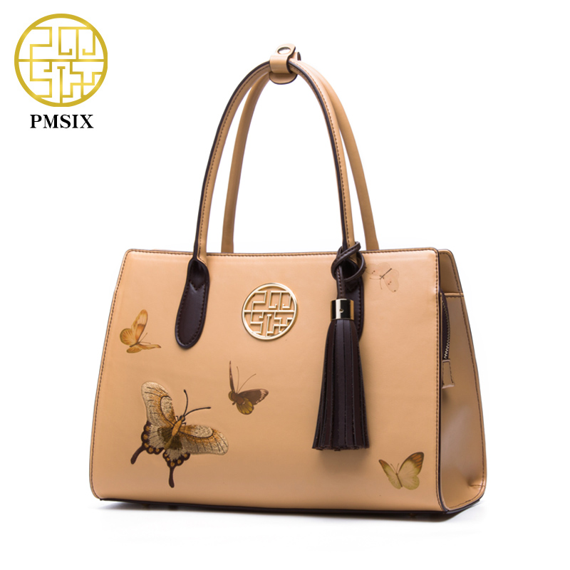 Pmsix 2017 New Designer Women Handbags Split Leather Embroidery Tassel Purses And Handbags Light