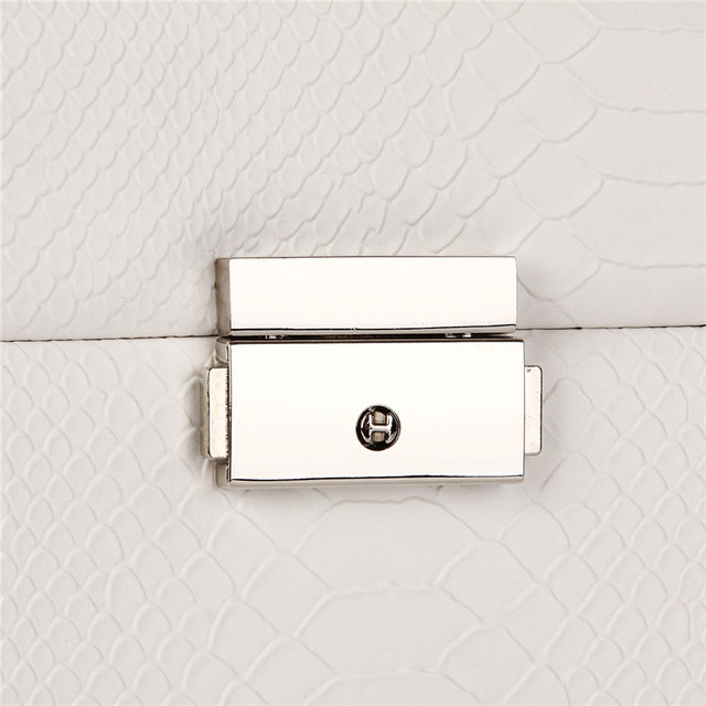 White Large Jewelry Box Girls Storage Travel Case Display Organizer Packaging Rings Earring Necklace Snake Pattern