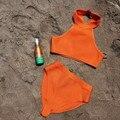 Nuevas adquisiciones 2016 verano sexy traje de baño mujeres negro orange vendaje hl beachwear xl al por mayor