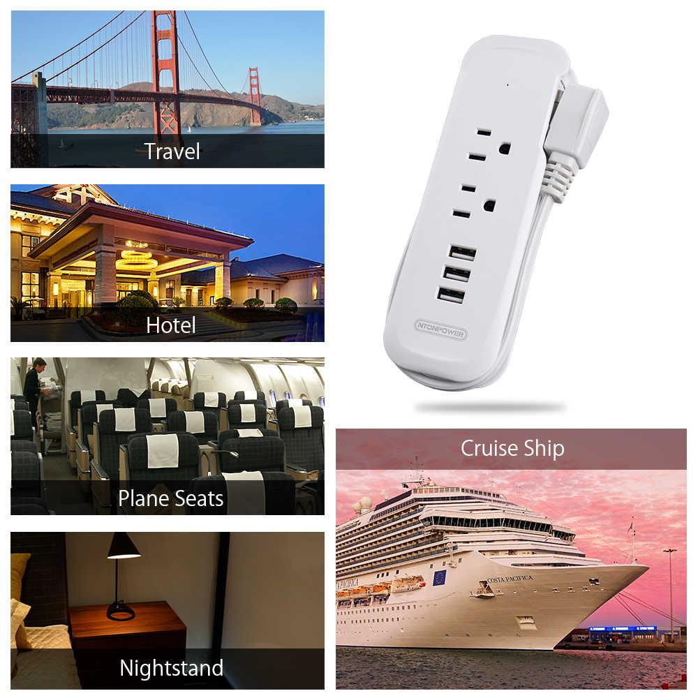 Przenośna listwa zasilająca NTONPOWER 2 AC 3 USB wtyczka elektryczna z gniazdem US 38 CM krótki przedłużacz Mini ładowarka podróżna