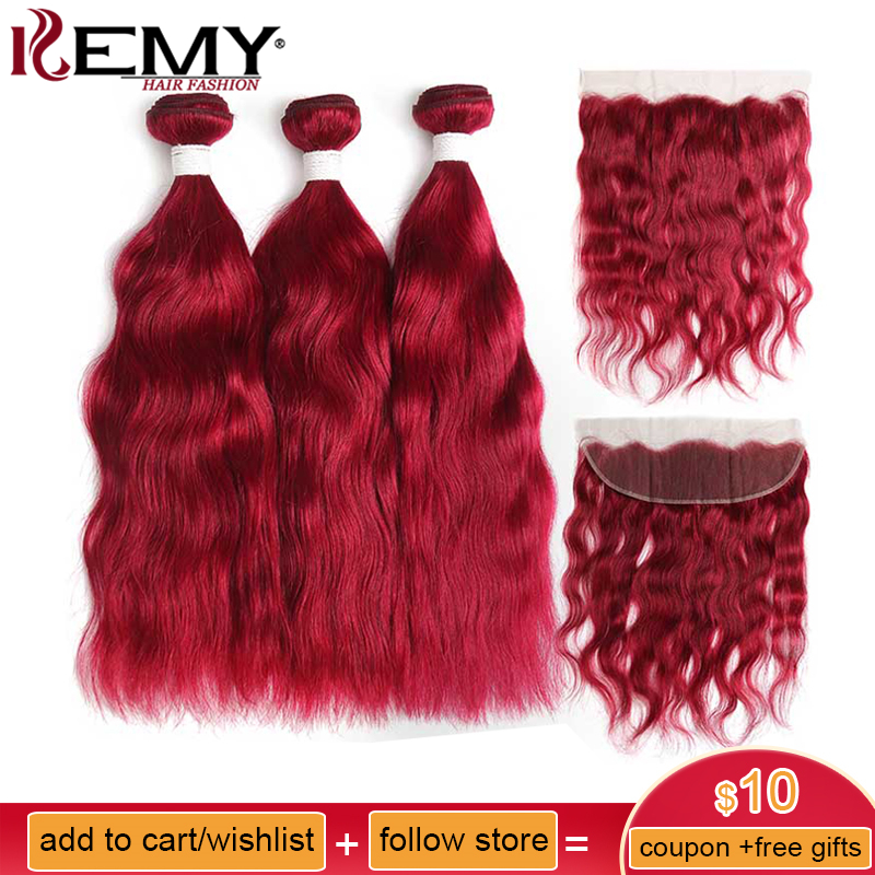 99j/Burgundy Red Color Natural Wave Human Hair Bundles With Frontal 13*4 Kemy Hair Brazilian Non Remy Hair Weaves 3/4pcs Bundles