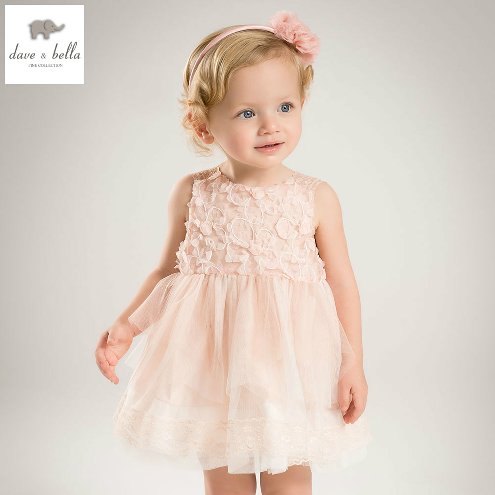 DB5046 dave bella summer baby girl princess light khaki solid wedding birthday children dress girls costumes