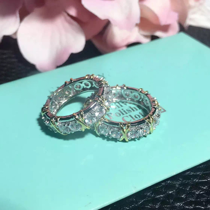 Designer Fashion 925 Sterling Silver Jewelry 2 Tone Plated 3A Cubic Zirconia Party Ring
