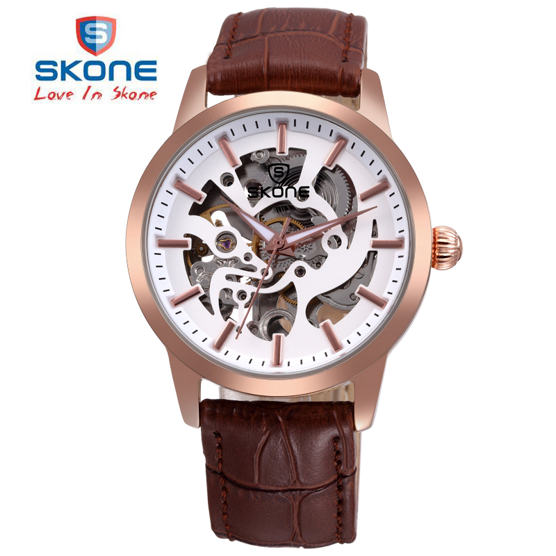 SKONE Mechanical Quartz Dual Movt Watch Luxury Black Case Genuine Leather Strap Automatic Mechanical Watch Men relogio masculin ultra luxury 2 3 5 modes german motor watch winder white color wooden black pu leater inside automatic watch winder