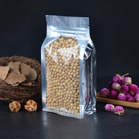 Aluminum plating Big Capacity Self Stand Bag Oatmeal food pouch Dried Tea Leaf Flower Plastic Packaging bags Reclosable 100pcs