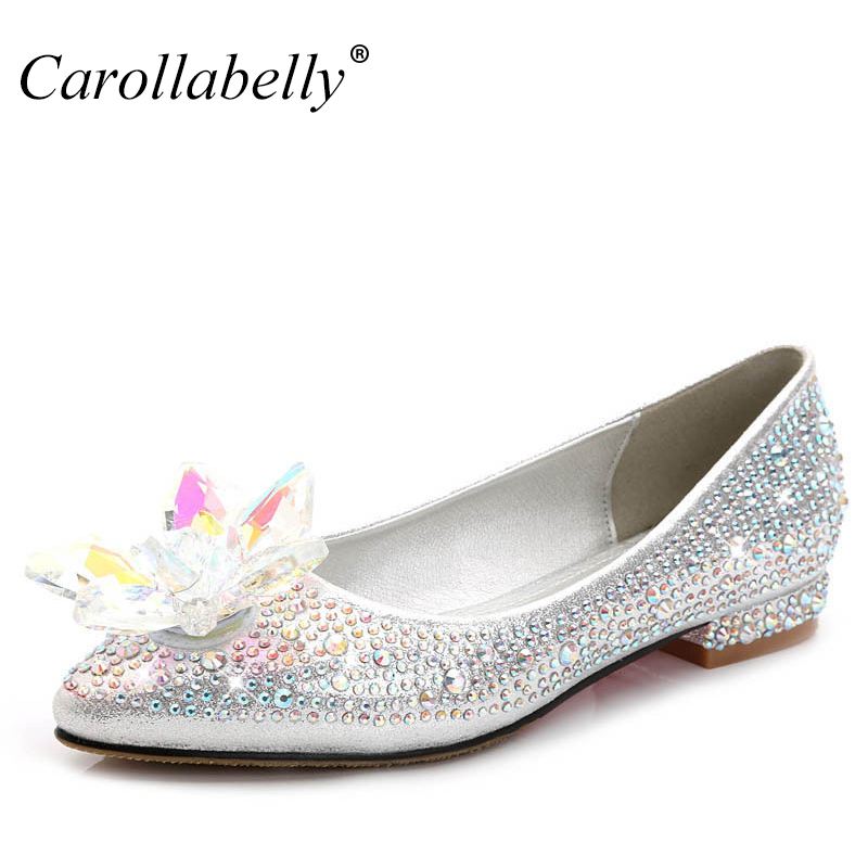 2017 New Crystle Cinderella Shoes Rhinestone Flat heel Women Shoes Sexy Woman Wedding Shoes Flats Zapatos Mujer big size 34-43 vintage cute women s mary jane flat loafers shoes woman moccasins ballet flats for women zapatos mujer big size 34 43