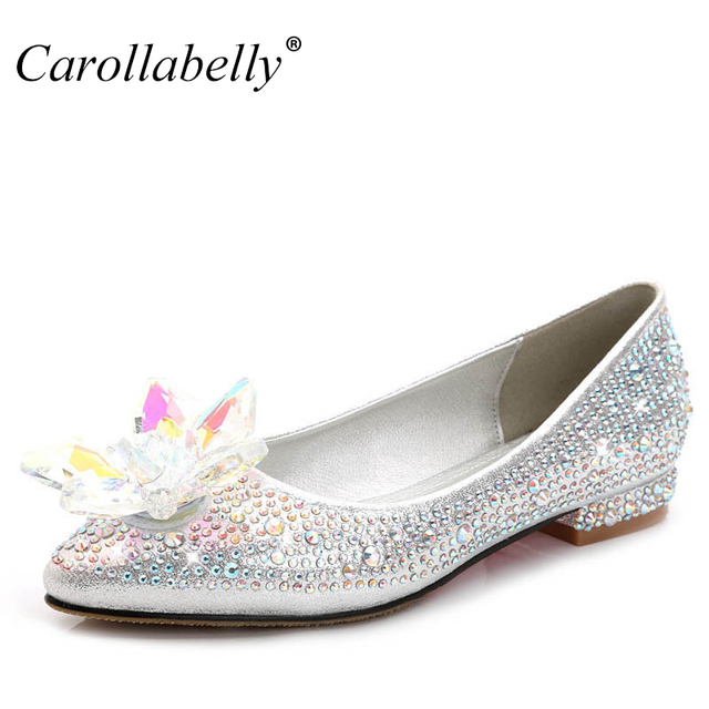 2017 New Crystle Cinderella Shoes Rhinestone Flat Heel Women Sexy Woman Wedding Flats Zapatos