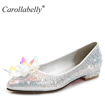 2018 New Crystle Cinderella Shoes Rhinestone Flat heel Women Shoes Sexy Woman Wedding Shoes Flats Zapatos Mujer big size 34-43