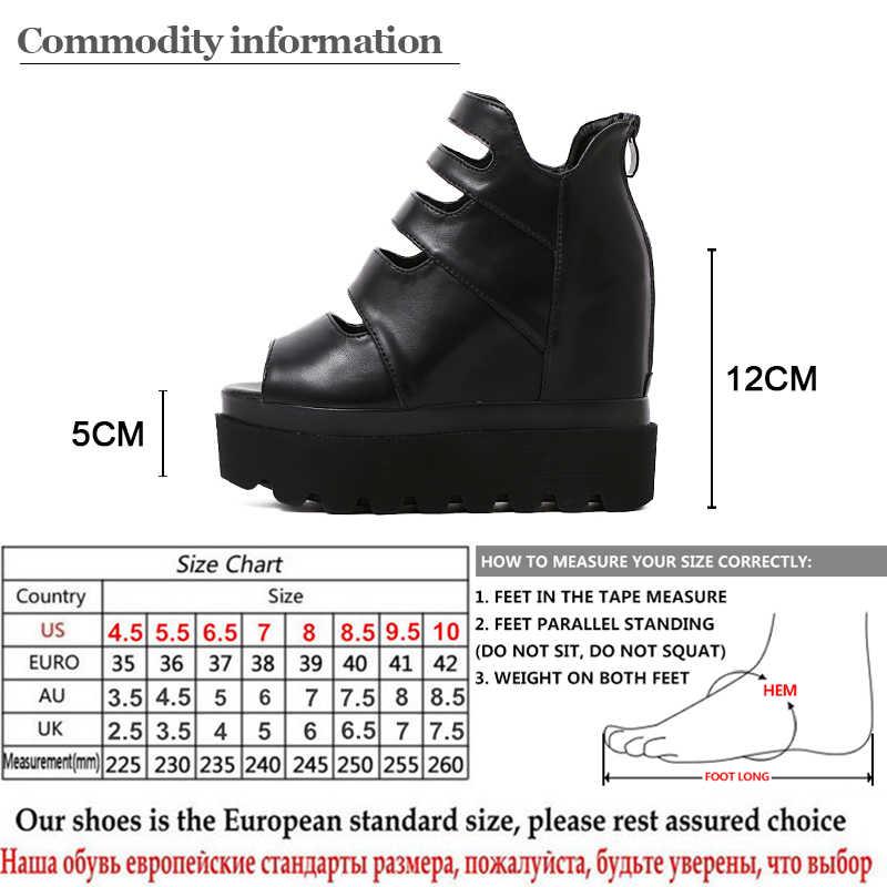 Gdgydh 2019 ใหม่แฟชั่นผู้หญิงฤดูร้อนรองเท้า Wedges แพลตฟอร์มปั๊มส้นสูงโรมสไตล์ซิปรองเท้าสุภาพสตรีรองเท้าโปรโมชั่น