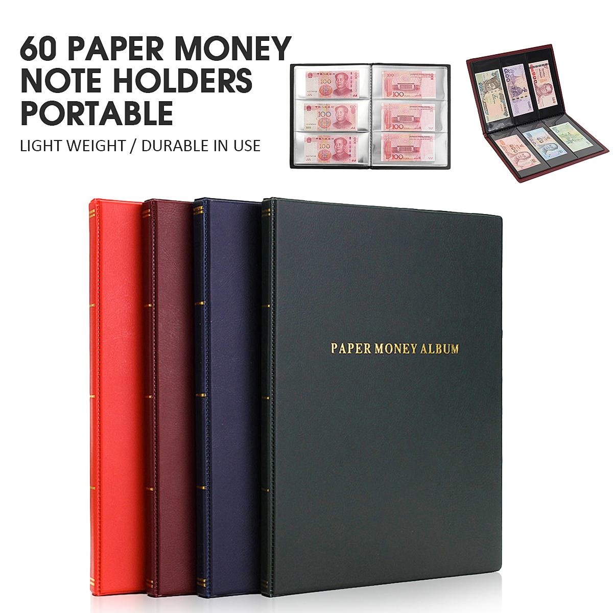 60 Paper Money Note Holders Collection Collecting Storage Pockets Album Book 295x225x15mm Card Holder & Note Holder 120 pockets coins album collection book mini penny coin storage album book collecting coin holders for collector gifts supplies