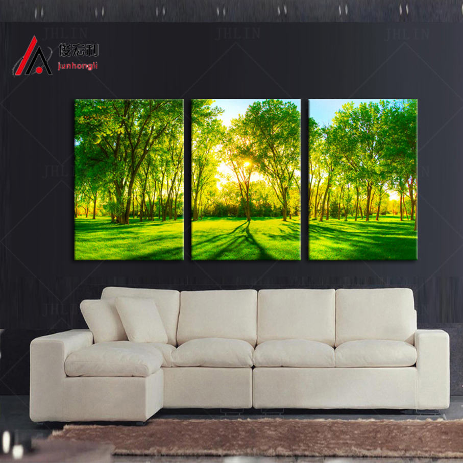 3 piece home decoration artwork canvas print sunshine forest green trees park large photo modular picture wall art free shipping - Cheap Canvas Wall Art