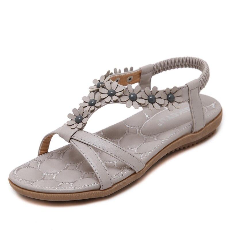 UMMEWALO Sandals Women Designer Thong Flat Strappy Sandals Flowers Rhinestone Gladiator Sandal Summer Shoes Zapatos Mujer