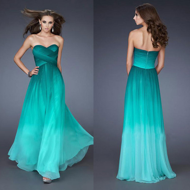 New Design Ombre Dark Green Chiffon Prom Dresses 2016 Strapless A Line Sweetheart Long Bridesmaid