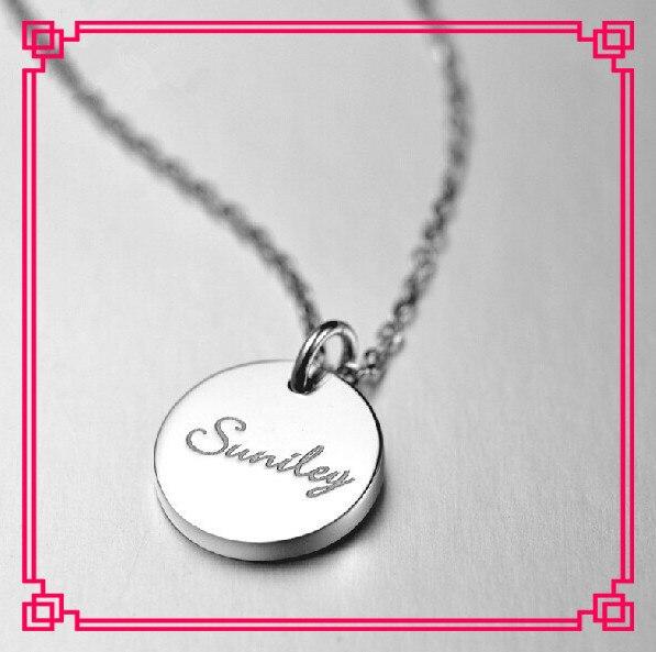 Ручной Индивидуальные Печать Имя Чистого Серебра Круглый Кулон Ожерелье Из Розового Золота Монета Ожерелье Воротник Для Женщин