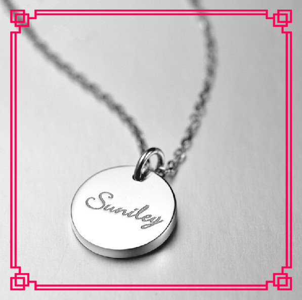 Handmade Customized  Stamp Name Solid Silver Round Pendant Necklace Rose Gold Coin Necklace Collar For Women
