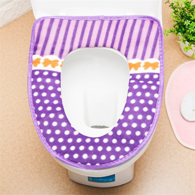 1PC Fashion Toilet Seat Cover Warmer Fleece Thick Soft Comfortable Baby Potty Seats Case Overcoat Toilet Case Bathroom Accessory 3