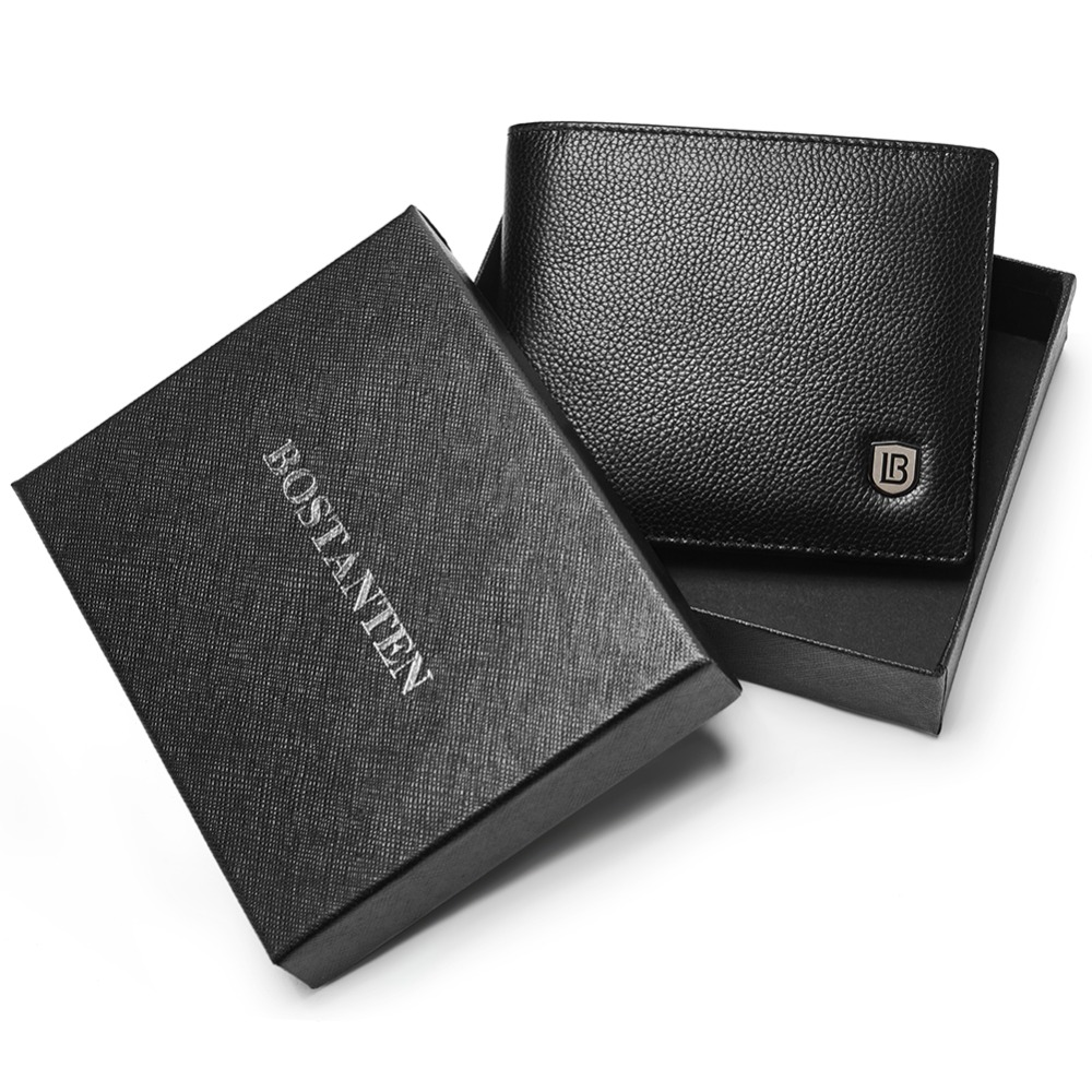 цена на BOSTANTEN Leather Wallets for Men RFID Blocking Bifold Stylish Wallet With 2 ID Window Men Short Wallets Black Coffee