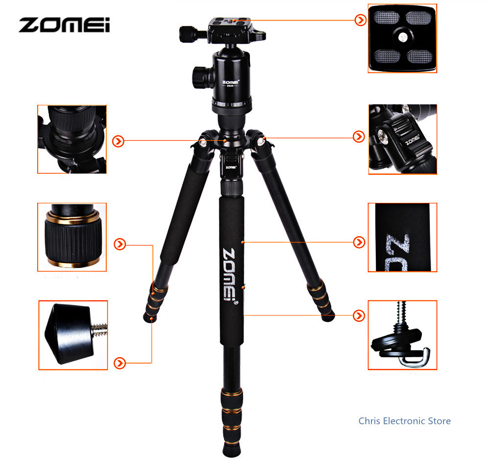 Newest Zomei Z688 Aluminum Professional Tripod Monopod + Ball Head For DSLR camera Portable / SLR Camera stand new zomei q688 aluminum professional tripod monopod ball head for dslr camera portable slr camera stand