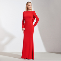 Tanpell long evening dress red sexy backless full sleeves floor length sheath gown women prom custom formal evening dresses