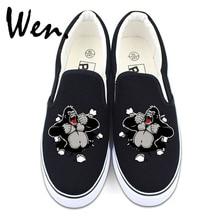 Wen Men Canvas Slip on Shoes Women Sneakers Original Design Gorilla Flats Low Strapless Animal Shoe