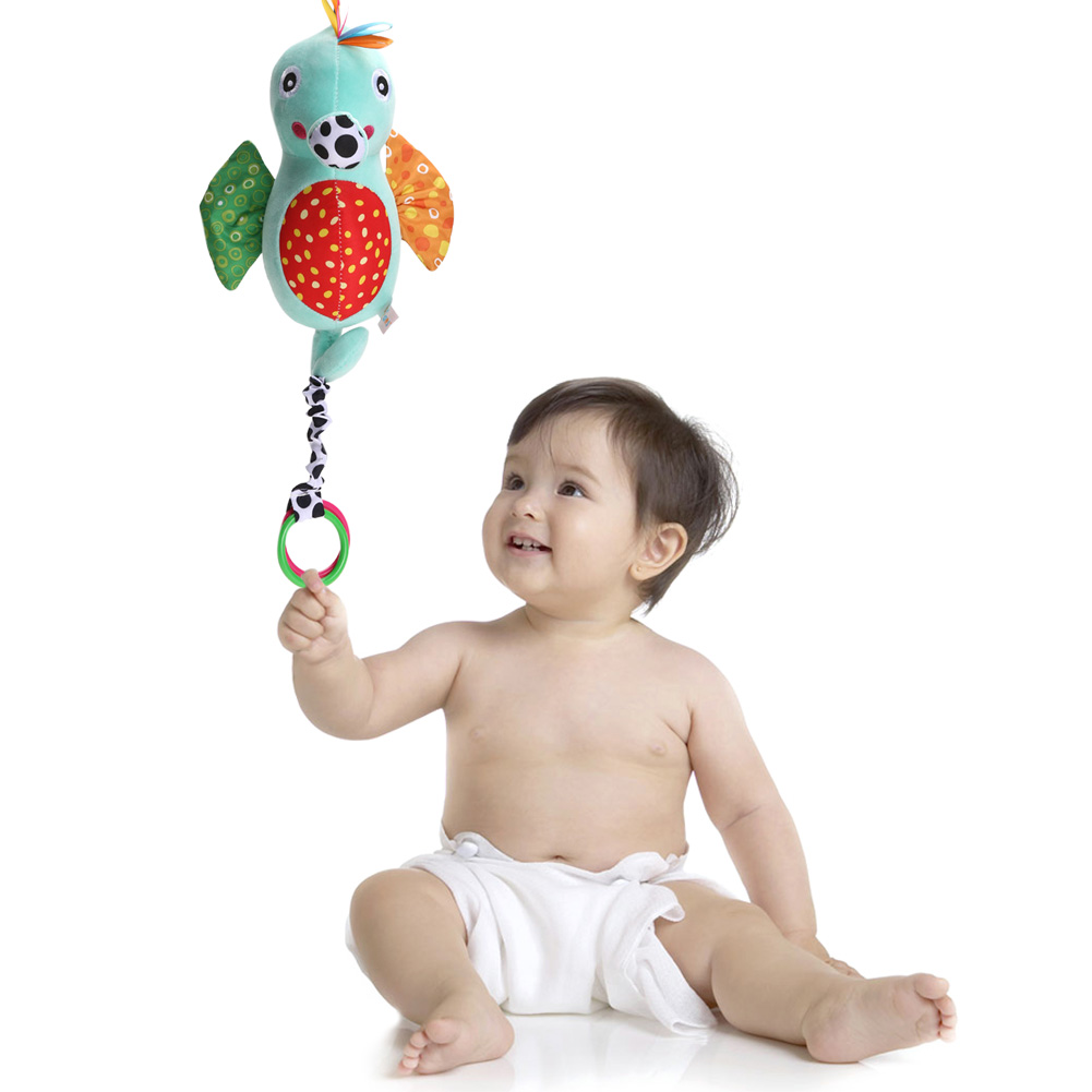 Cute Plush Hippocampus Baby Rattle Toy Lovely Crib Stroller Hanging Doll with Bell Kids Teether Educational Musical Grasping Toy