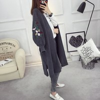 Autumn New Large Size Maternity Long Sweater Coat Loose Cardigan Clothing For Pregnancy Women Thin Sweater