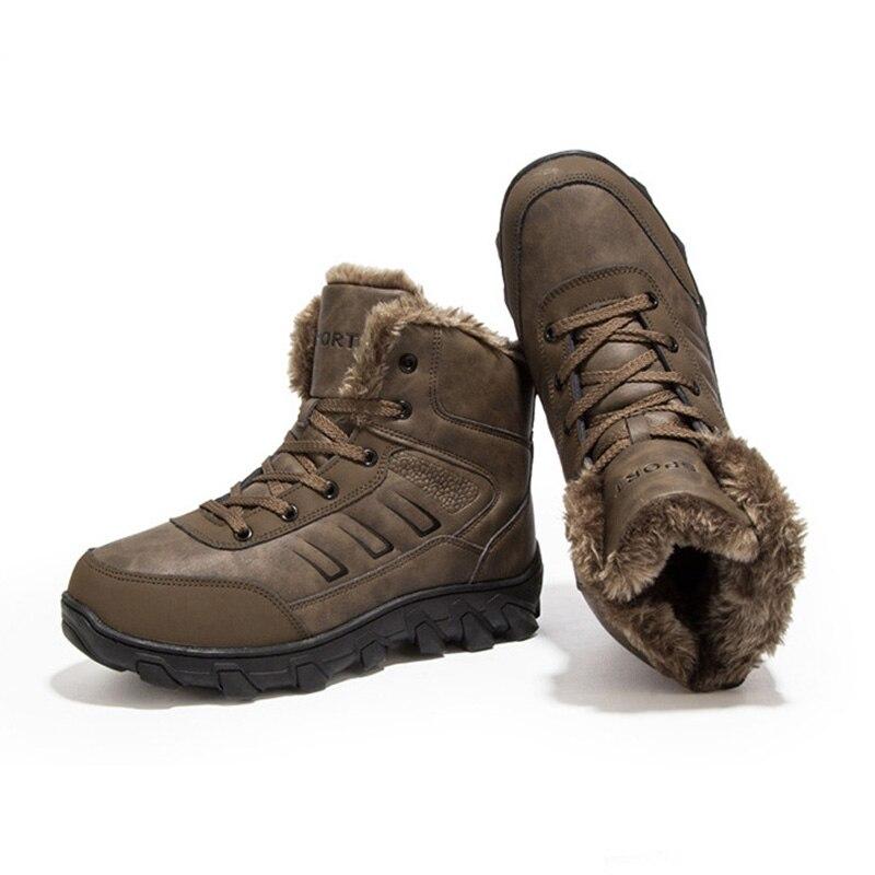 En Mode 2019 marron Chaussures Semelle Fourrure Épaisse L'hiver Sneakers Hommes Non Noir glissement Neige De Hiver Pour Bottes Chaud Ka225 Froid TrwqT04A