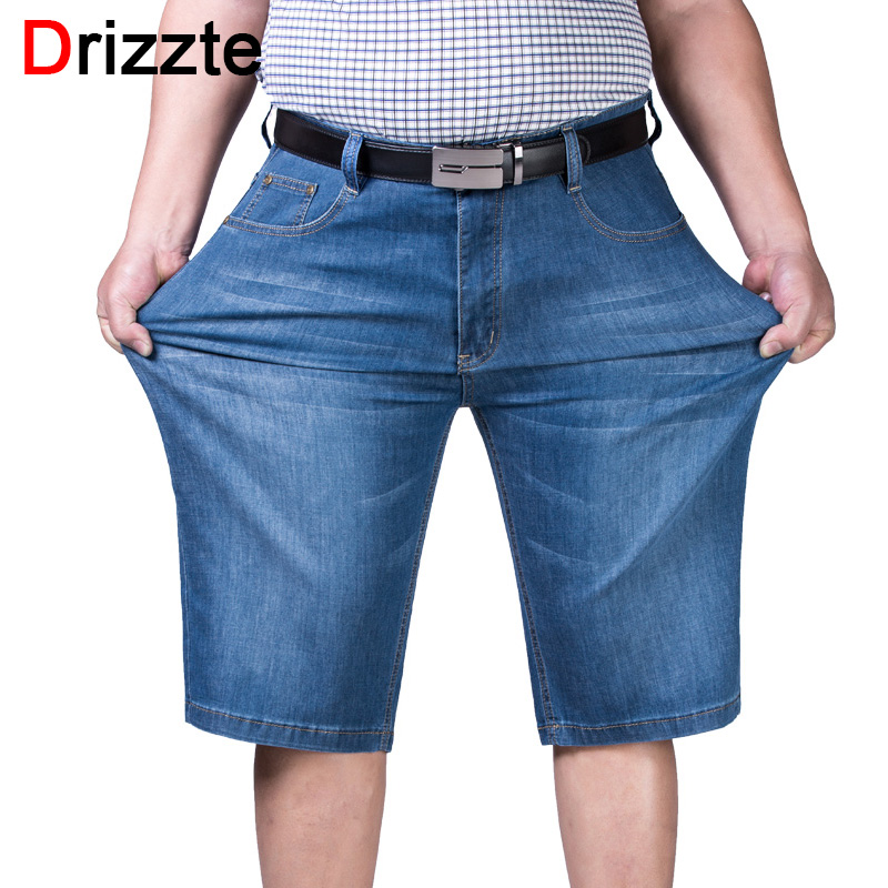 Drizzte Mens Plus Size 44 46 48 50 52 Jeans Shorts Stretch Light Blue Thin Denim Short Jean Big and Tall Trousers Pants sulee brand 2017 mens plus size jeans stretch dark blue denim slim long trouser jean pants big and tall trendy mens clothing