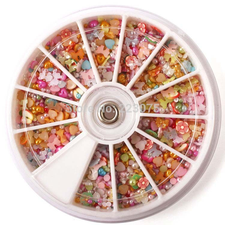 New mixed Colors butterfly love half pear Glitter Rhinestone Nail Art Wheel DIY Decorations 1500pcs/wheel купить