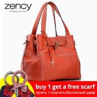 Zency 100% Cow Leather Elegant Women Shoulder Bag Charm Orange Fashion Messenger Crossbody Purse With Lock Decoration Handbag